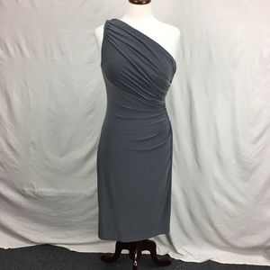 Lauren Ralph Lauren Grey One Shoulder Ruched Dress